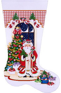 Candy Cane Santa with Tree Hand-painted Christmas Stocking Canvas