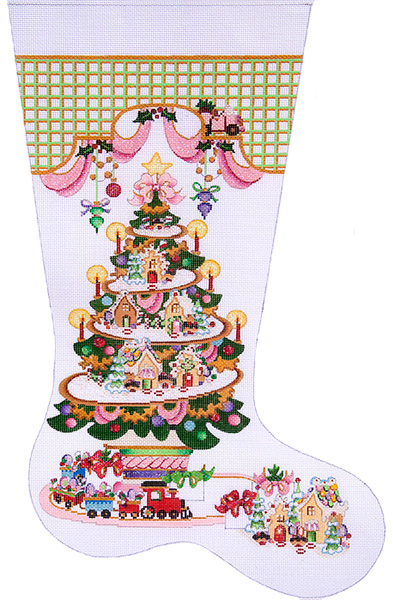 Gingerbread Village Tree Hand-painted Christmas Stocking Canvas