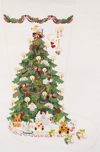 Victorian Tree with Pink Ribbons Hand-painted Christmas Stocking Canvas
