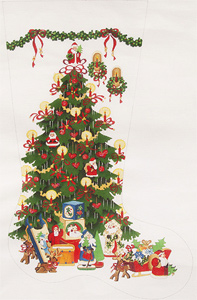 Santa Tree - Red Ribbons Hand-painted Christmas Stocking Canvas