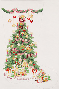 Gingerbread Tree - Pink Ribbons Hand-painted Christmas Stocking Canvas
