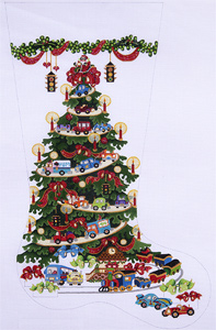 Transportation Tree - Cars and Trucks Hand-painted Christmas Stocking Canvas