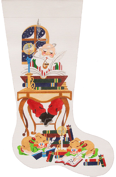 Santa at Desk with Books Hand-painted Christmas Stocking Canvas