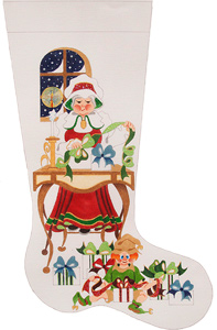 Mrs. Santa at Desk with Gifts Hand-painted Christmas Stocking Canvas