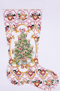 Decorated Tree with Gold Cartouche Hand-painted Christmas Stocking Canvas