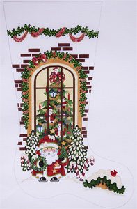 Santa Outside Window Hand-painted Christmas Stocking Canvas