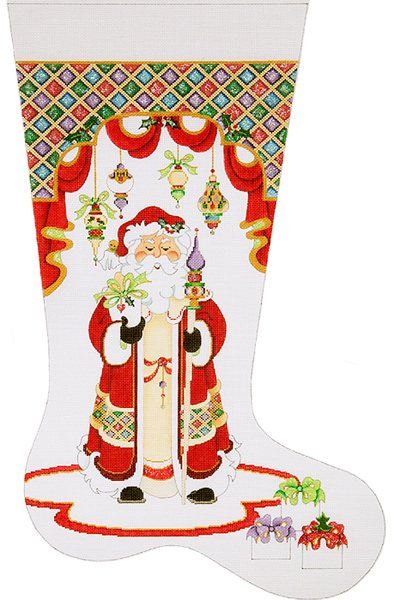 Santa With Long Coat, Staff and Diamond Top - Hand-painted Christmas Stocking Canvas