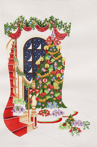 Staircase with Decorated Tree and Window Hand-painted Christmas Stocking Canvas