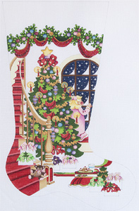 Staircase with Decorated Tree and Girl at Window Hand-painted Christmas Stocking Canvas