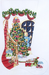Staircase with Decorated Tree and Boy at Window Hand-painted Christmas Stocking Canvas