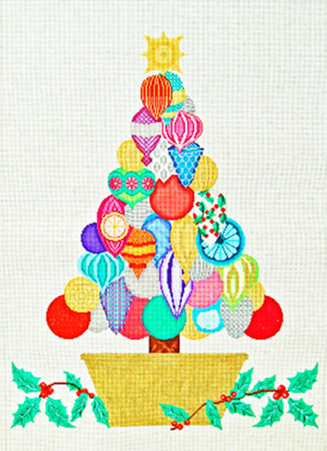 Christmas Tree - Hand Painted Needlepoint Canvas from Trubey Designs