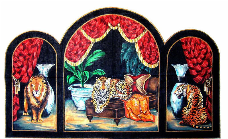 Jungle Cats Triptych with Red Drapes