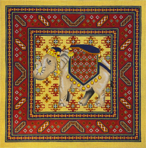 Shanta with Chici 3 Border Hand Painted Needlepoint Canvas