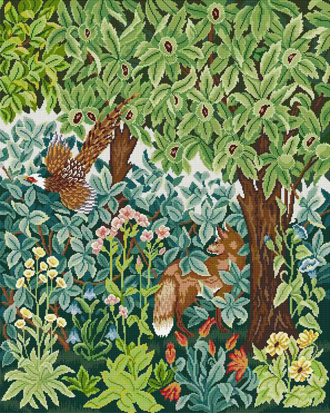 Beth Russell Needlepoint - Henry Dearle Greenery Collection - Fox & Pheasant Firescreen/Picture/Hanging - Kit
