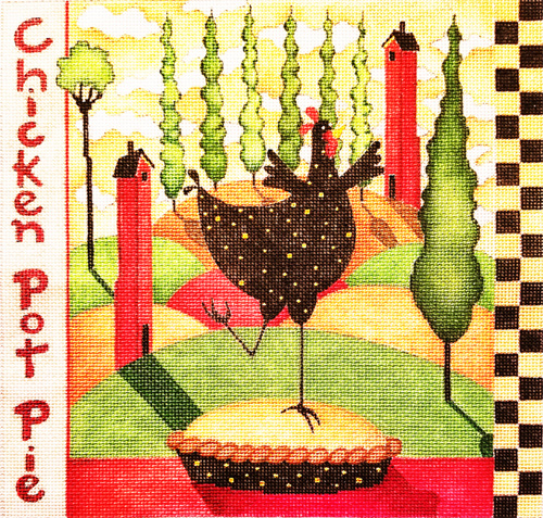 Chicken Pot Pie Hand Painted Needlepoint Canvas from Debbie Hubbs