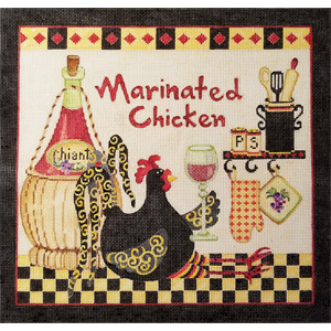 Marinated Chicken Hand Painted Needlepoint Canvas from Debbie Hubbs