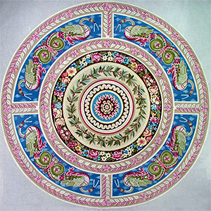 Round Aubusson Rug Hand-Painted Needlepoint Canvas