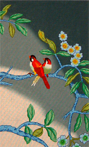 Red Birds on Blue with Silk Kit