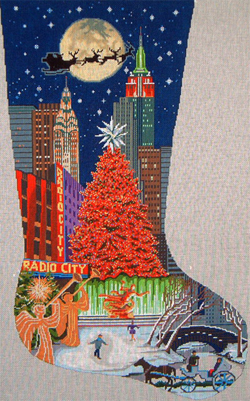 New York Christmas Stocking -Hand Painted Canvas (18 Count Canvas)