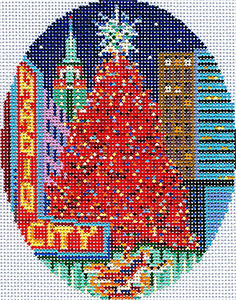 New York Christmas Ornament Hand Painted Canvas