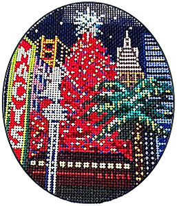San Francisco Christmas Ornament Hand Painted Canvas