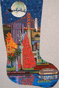 San Francisco Christmas Stocking - Hand Painted Canvas
