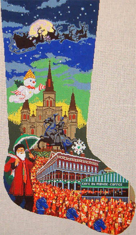 New Orleans Christmas Stocking - Hand Painted Canvas