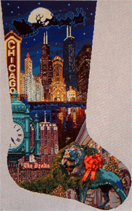 Chicago Christmas Stocking - Hand Painted Canvas