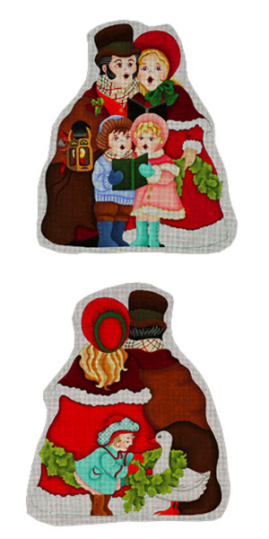 Caroler Family (2 pieces, front and back) - Hand Painted Needlepoint Canvas from dede's Needleworks