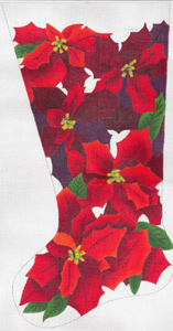 Noel Poinsettias Stocking - Hand Painted Needlepoint Canvas from dede's Needleworks