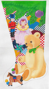 Teddy & Toys Stocking - Hand Painted Needlepoint Canvas from dede's Needleworks
