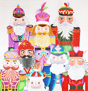 Jolly Nutcracker Collection Pillow - Hand Painted Needlepoint Canvas from dede's Needleworks