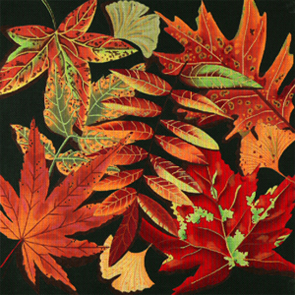 Harvest Leaves - Hand Painted Needlepoint Canvas from dede's Needleworks