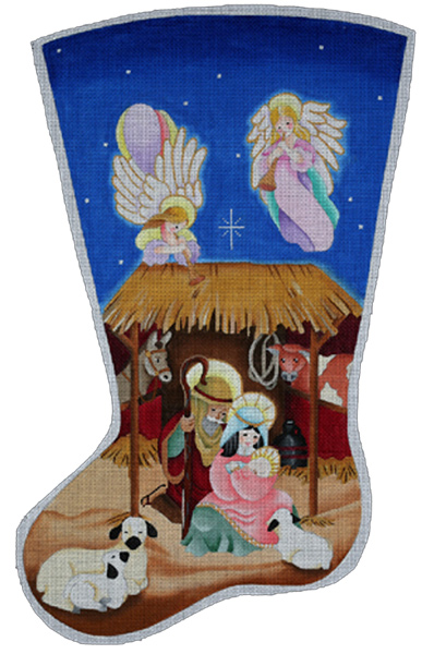 Creche Stocking - Hand Painted Needlepoint Canvas from dede's Needleworks