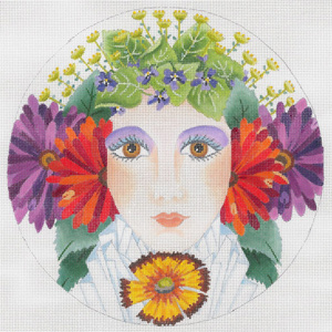 Flower Girl Summer - Hand Painted Needlepoint Canvas from dede's Needleworks