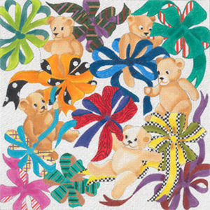 Baby Bears & Bows - Hand Painted Glitter Needlepoint Canvas from dede's Needleworks