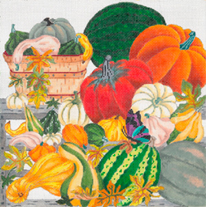 Autumn Farmer's Market without Border - Hand Painted Needlepoint Canvas from dede's Needleworks