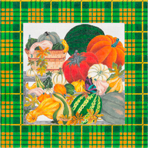 Autumn Farmer's Market with Border - Hand Painted Needlepoint Canvas from dede's Needleworks