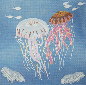 Jellyfish on Blue Canvas - Hand Painted Needlepoint Canvas from dede's Needleworks