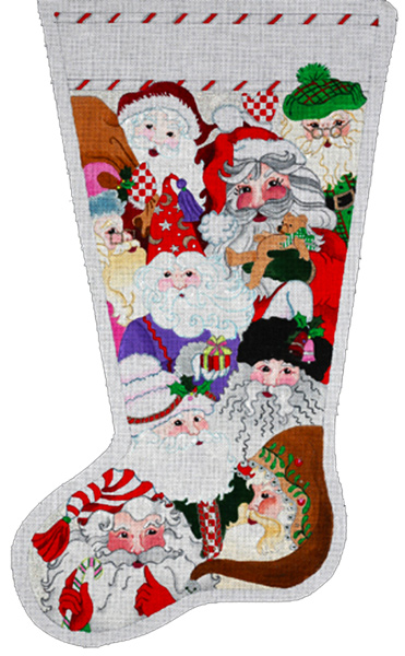 Santa Collection Stocking - Hand Painted Needlepoint Canvas from dede's Needleworks