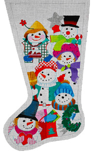 Multi Snowmen Stocking - Hand Painted Needlepoint Canvas from dede's Needleworks