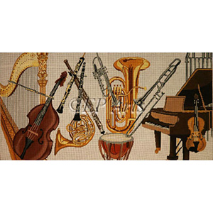 Hand Painted Piano Bench Cover Needlepoint Canvas from EP Arts - Orchestra Instruments