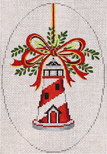 Lighthouse Christmas Ornament Hand Painted Canvas
