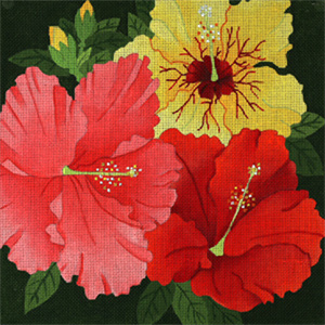 Giant Hibiscus - Hand Painted Needlepoint Canvas from dede's Needleworks