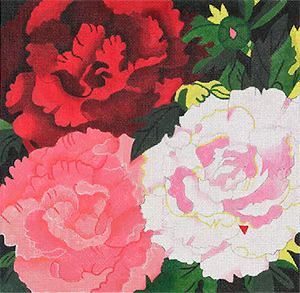Giant Peonies - Hand Painted Needlepoint Canvas from dede's Needleworks