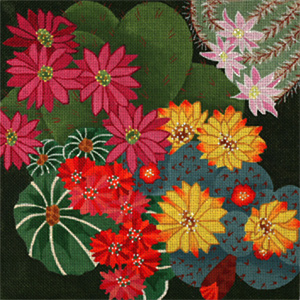 Giant Cactus Flowers - Hand Painted Needlepoint Canvas from dede's Needleworks