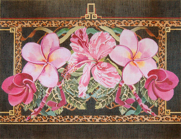 Pink Hibiscus & Plumerias / Leopard Border -  Hand Painted Needlepoint Canvas by Joy Juarez