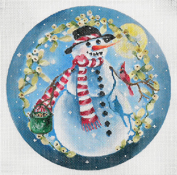 Snowman/Red Cardinals - Hand Painted Needlepoint Canvas by Joy Juarez