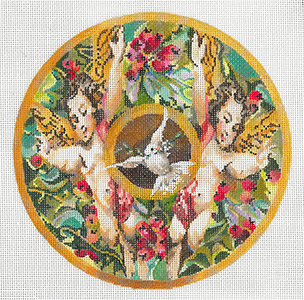 Cherubs and Dove - Hand Painted Needlepoint Canvas by Joy Juarez