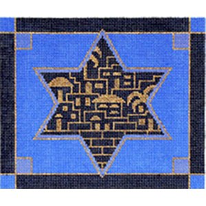 Golden City Blue Needlepoint Tefillin Canvas
